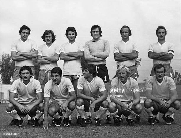 The SS Lazio football team Rome October 1975 The team was due to play Barcelona in Rome in a second round first leg UEFA cup match on 22nd October...