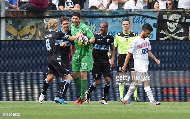 The SS Lazio goalkeeper Federico Marchetti celebrates after having saved the second penalty during the Serie A match between Carpi FC and SS Lazio at...