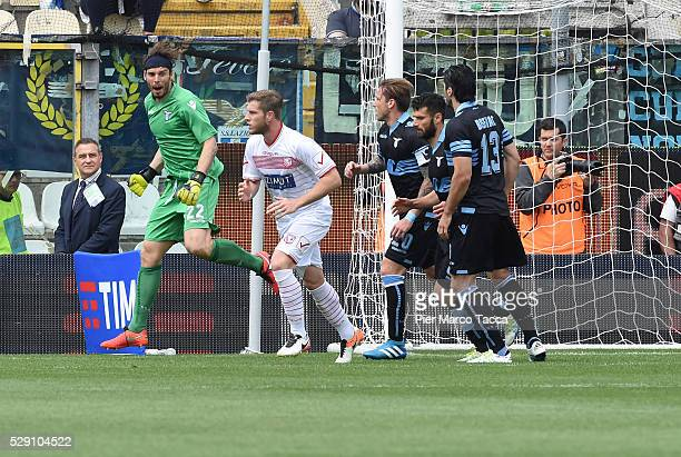 The SS Lazio goalkeeper Federico Marchetti celebrates after having saved the first penalty during the Serie A match between Carpi FC and SS Lazio at...