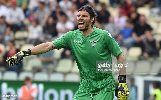 The SS Lazio goalkeeper Federico Marchetti gestures during the Serie A match between Carpi FC and SS Lazio at Alberto Braglia Stadium on May 8 2016...