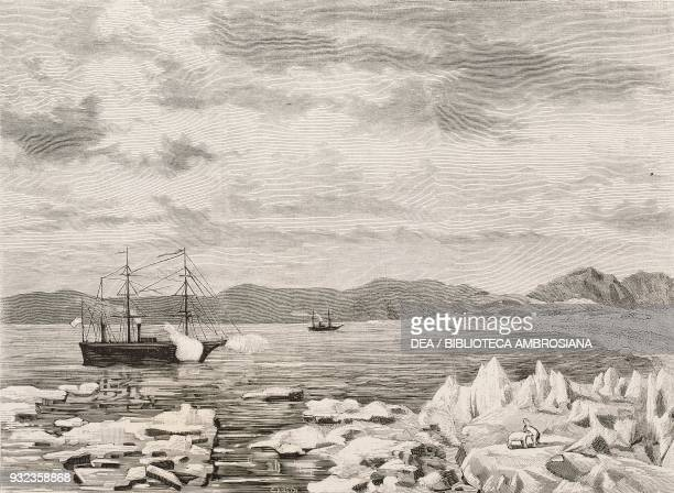 The SS Vega and SS Lena ships at Cape Chelyuskin Adolf Erik Nordenskiold's Arctic expedition sketch by Giacomo Bove engraving from L'Illustrazione...