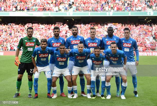 The SSC Napoli starting XI pose for a team photograph before the international friendly game between Liverpool and Napoli at Aviva Stadium on August...