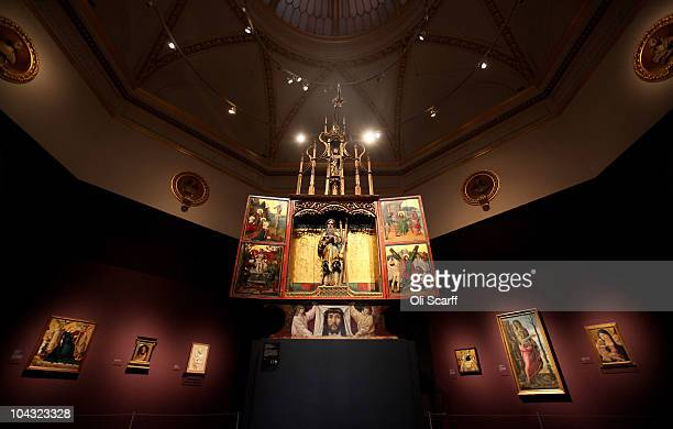 The 'St Andrew Altarpiece' of painted and gilded limewood and pine which dates from 1512 goes on display at the exhibition 'Treasures from Budapest'...