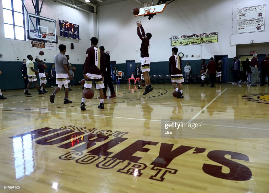 The St. Anthony Friars warm up before the game against the Monclair Immaculate Lions during the 2017 NJSIAA Boy's Basketball North B Tournament Quarterfinals at C.E.R.C. on March 3, 2017 in Jersey City, New Jersey.The St. Anthony Friars defeated the Monclair Immaculate Lions 66-52.