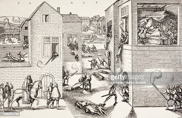 The St Bartholomew's Day Massacre In August 1572 On The Left Is Seen The Attempted Assassination Of Admiral De Coligny On The Right His Murder Is...