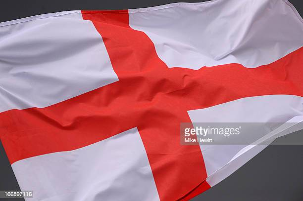 The St George's Flag flies above the The Kia Oval during day two of the LV County Championship Division One match between Surrey and Somerset at The...
