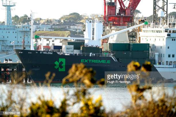 The St Helena cargo ship docked on February 25, 2021 in Falmouth, England. Former Royal Mail ship, The St. Helena, has undergone a multi-million...