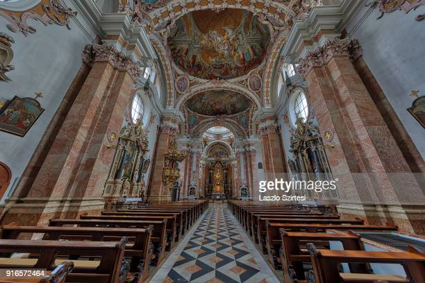 The St James Cathedral is seen from inside on January 28 2018 in Innsbruck Austria