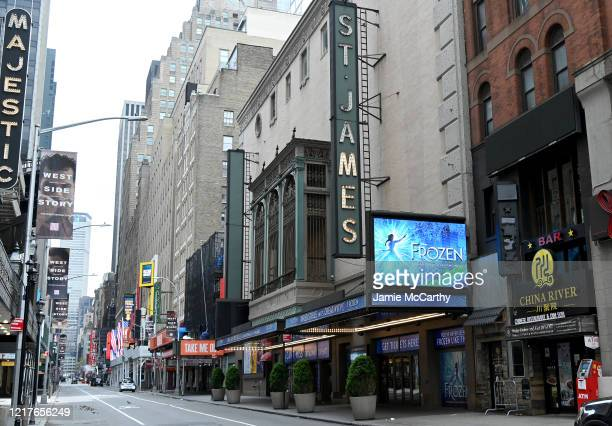 The St. James Theater closed during the coronavirus pandemic on April 08, 2020 in New York City. The Broadway League announced today that theaters...