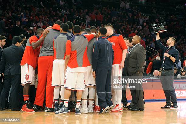 The St John's Red Storm huddle during a college basketball game against the Duke Blue Devils at Madison Square Garden on January 25 2015 in New York...