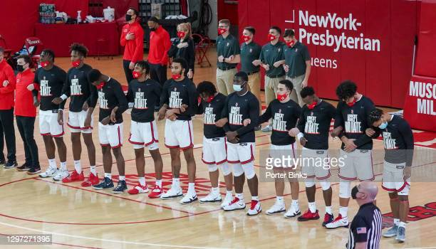 The St. John's Red Storm line up for the National Anthem before the game against the Butler Bulldogs at Carnesecca Arena on January 12, 2021 in the...