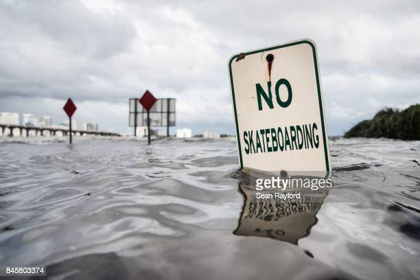 The St Johns River rises from storm surge flood waters from Hurricane Irma on Sept 11 2017 in Jacksonville Florida Flooding in downtown Jacksonville...