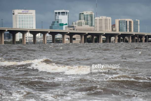 The St Johns River rises from storm surge flood waters from Hurricane Irma on September 11 2017 in Jacksonville Florida Flooding in downtown...