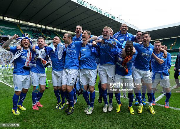 The St Johnstone team celebrate their victory over Dundee United during The William Hill Scottish Cup Final between St Johnstone and Dundee United at...