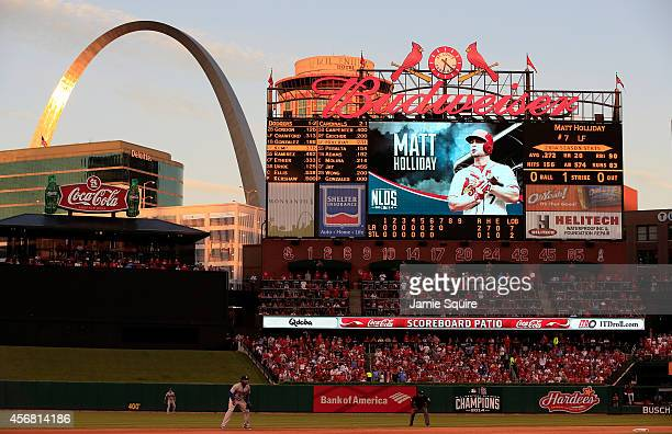 The St. Louis Arch is seen in the bottom of the seventh inning in Game Four of the National League Divison Series between the Los Angeles Dodgers and...
