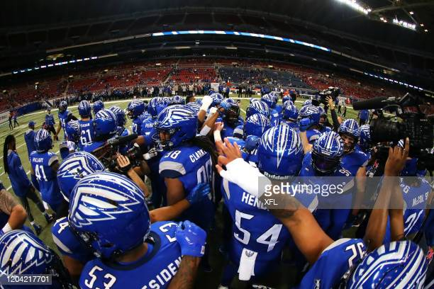 The St Louis BattleHawks huddle before the XFL game against the Seattle Dragons at The Dome at America's Center on February 29 2020 in St Louis...