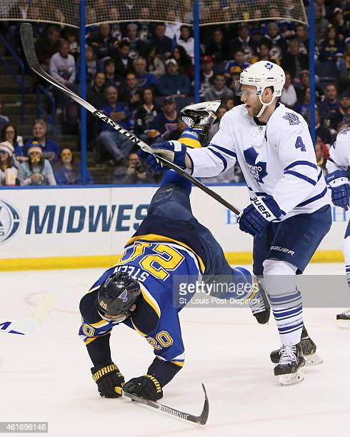 The St Louis Blues' Alexander Steen is knocked down by the Toronto Maple Leafs' Cody Franson in the first period on Saturday Jan 17 at the Scottrade...
