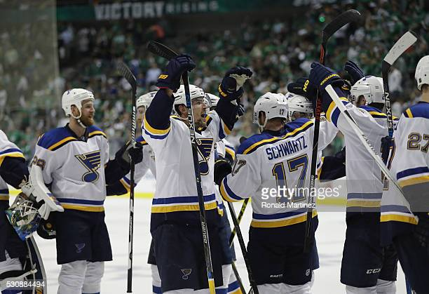 The St Louis Blues celebrate a 61 win against the Dallas Stars in Game Seven of the Western Conference Second Round during the 2016 NHL Stanley Cup...