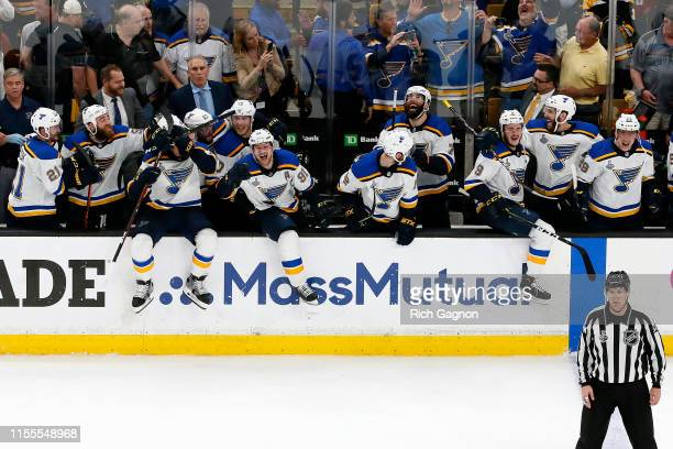 The St Louis Blues celebrate a third period goal against the Boston Bruins in Game Seven of the 2019 NHL Stanley Cup Final at TD Garden on June 12...