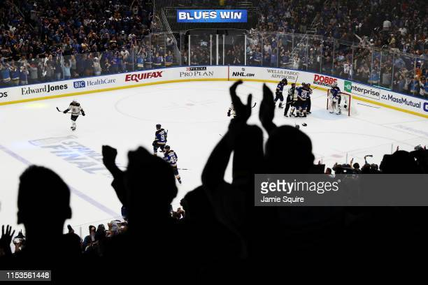 The St. Louis Blues celebrate after defeating the Boston Bruins 4-2 in Game Four of the 2019 NHL Stanley Cup Final at Enterprise Center on June 03,...