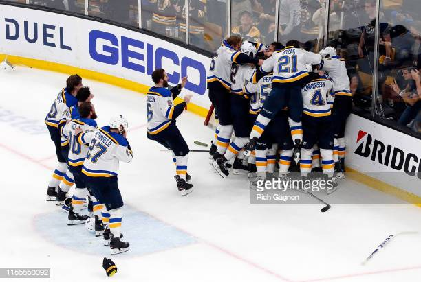 The St. Louis Blues celebrate after defeating the Boston Bruins in Game Seven to win the 2019 NHL Stanley Cup Final at TD Garden on June 12, 2019 in...