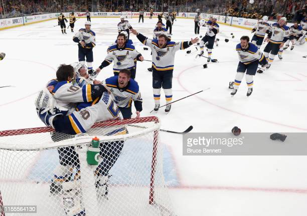 The St Louis Blues celebrate after defeating the Boston Bruins in Game Seven to win the 2019 NHL Stanley Cup Final at TD Garden on June 12 2019 in...
