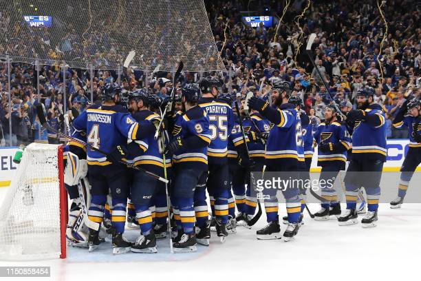 The St Louis Blues celebrate after defeating the San Jose Sharks in Game Six with a score of 5 to 1 to win the Western Conference Finals during the...