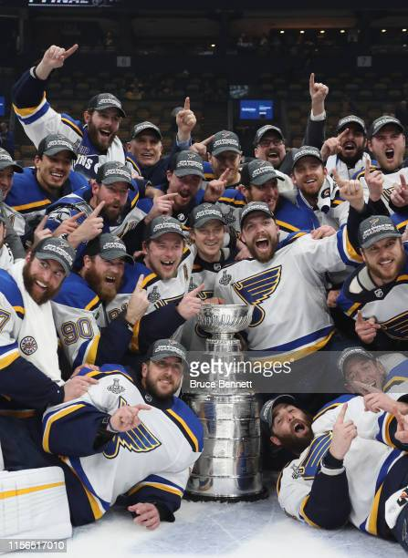 The St Louis Blues celebrate their Stanley Cup victory following the Blues victory over the Boston Bruins at TD Garden on June 12 2019 in Boston...