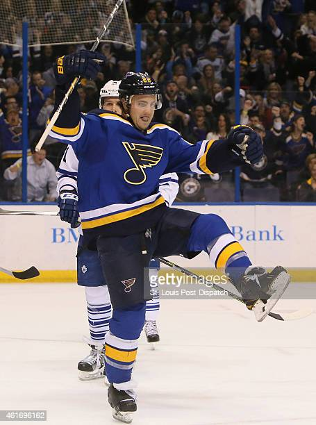 The St Louis Blues' Kevin Shattenkirk reacts after scoring in the first period against the Toronto Maple Leafs on Saturday Jan 17 at the Scottrade...