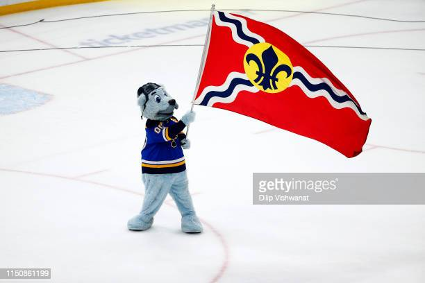 The St Louis Blues mascot celebrates after defeating the San Jose Sharks in Game Six to win the Western Conference Finals during the 2019 NHL Stanley...