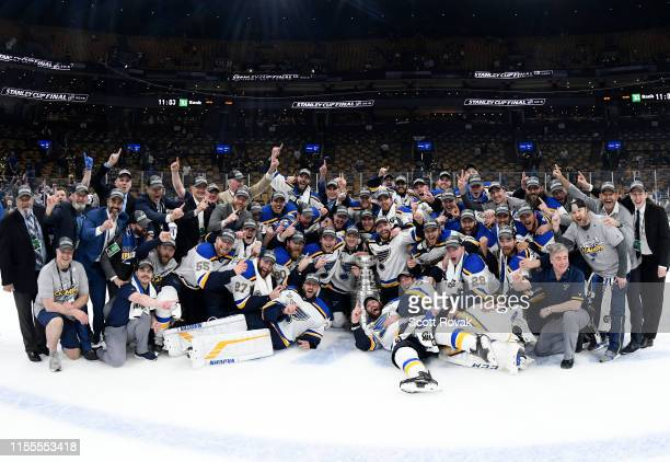 The St Louis Blues pose for a photo with the Stanley Cup after the 2019 NHL Stanley Cup Final at TD Garden on June 12 2019 in Boston Massachusetts...