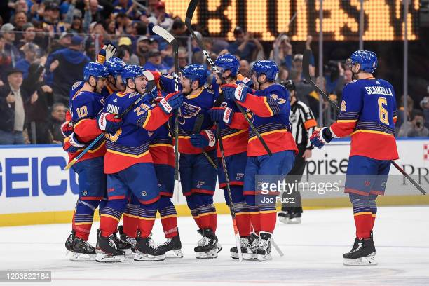 The St Louis Blues react after beating the New York Islanders 32 in overtime at Enterprise Center on February 27 2020 in St Louis Missouri