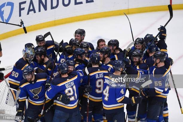 The St Louis Blues react after beating the San Jose Sharks 51 and advance to the Stanley Cup Final in Game Six of the Western Conference Final during...