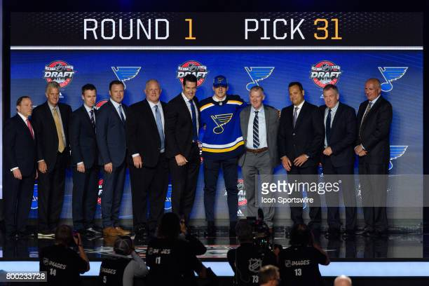 The St Louis Blues select right wing Klim Kostin with the 31st pick in the first round of the 2017 NHL Draft on June 23 at the United Center in...