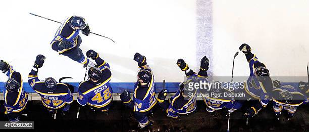 The St. Louis Blues' Vladimir Tarasenko is congratulated by teammates on the bench after scoring his second goal against the Minnesota Wild in the...