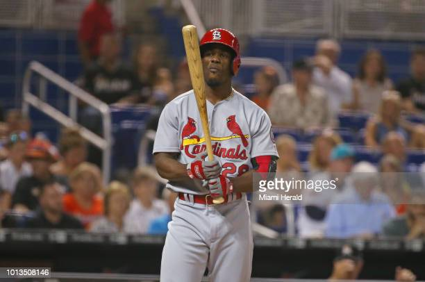 The St Louis Cardinals' Adolis Garcia bats during the second inning against the Miami Marlins at Marlins Park in Miami on Wednesday Aug 8 2018