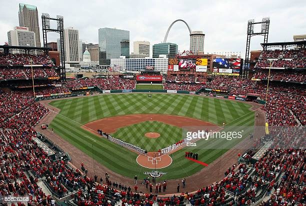 The St. Louis Cardinals and the Pittsburgh Pirates line up before the start of the game during Opening Day on April 6, 2009 at Busch Stadium in St....