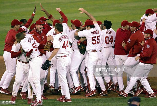 The St Louis Cardinals celebrate after defeating the Houston Astros in game seven of National League Championship Series during the 2004 Major League...