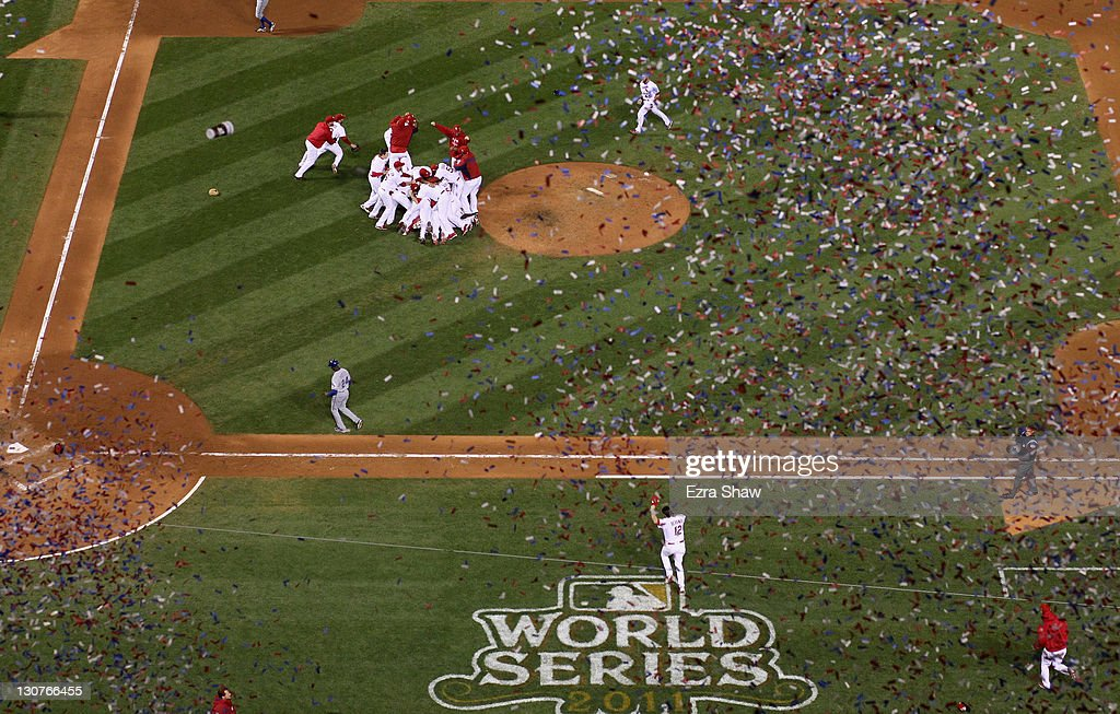 The St. Louis Cardinals celebrate after defeating the Texas Rangers 6-2 to win the World Series in Game Seven of the MLB World Series at Busch Stadium on October 28, 2011 in St Louis, Missouri.