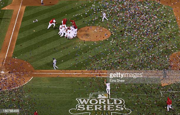 The St Louis Cardinals celebrate after defeating the Texas Rangers 62 to win the World Series in Game Seven of the MLB World Series at Busch Stadium...