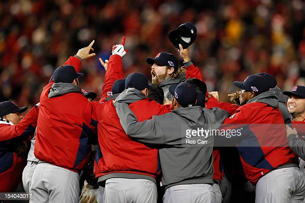 The St Louis Cardinals celebrate after defeating the Washington Nationals 97 in Game Five of the National League Division Series at Nationals Park on...