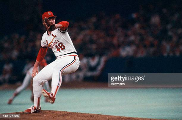 The St Louis Cardinals John Stuper pitches during the sixth game of the 1982 World Series against the Milwaukee Brewers The Cardinals won the game...