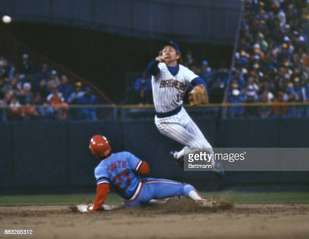 The St Louis Cardinals Lonnie Smith slides into second base as the Milwaukee Brewers Robin Yount throws the ball after tagging Smith out during the...