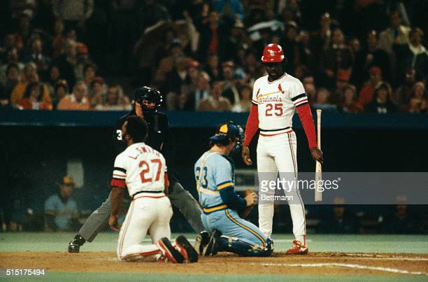 The St Louis Cardinals Lonnie Smith tries to steal home but is tagged out by the Milwaukee Brewers Ted Simmons during the sixth game of the 1982...