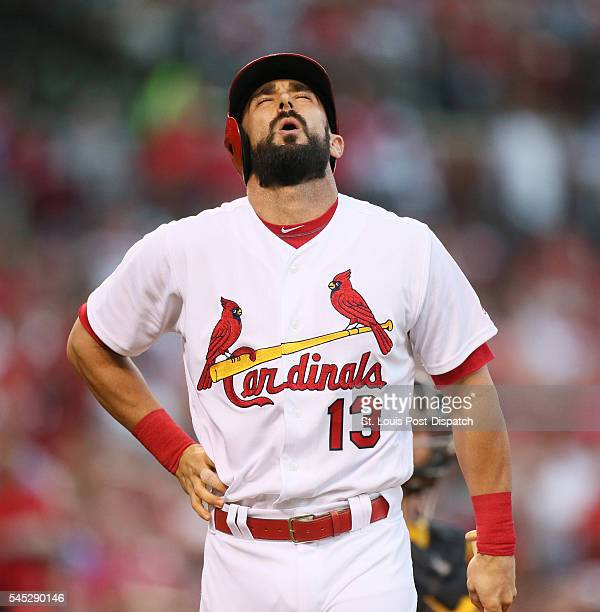 The St Louis Cardinals' Matt Carpenter grabs at his side after swinging at a pitch in the third inning against the Pittsburgh Pirates on Wednesday...