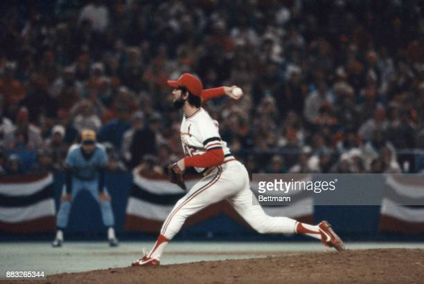 The St Louis Cardinals pitcher Bruce Sutter in action during the 7th game of the 1982 World Series against the Milwaukee Brewers The Cardinals won...