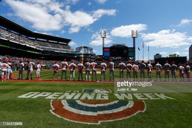 The St. Louis Cardinals stand on the baseline before the start of the game against the Pittsburgh Pirates at the home opener at PNC Park on April 1,...