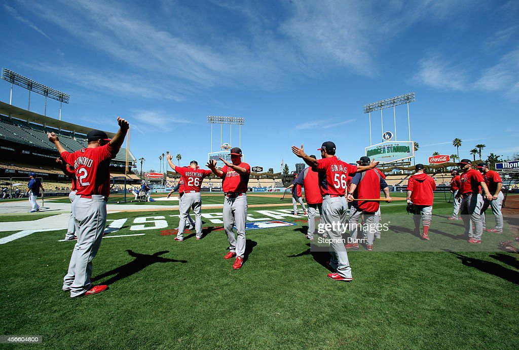 The St. Louis Cardinals warm up prior to the start of Game One of the National League Division Series against the Los Angeles Dodgers at Dodger Stadium on October 3, 2014 in Los Angeles, California.