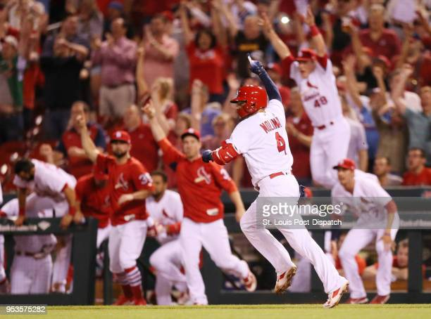 The St Louis Cardinals' Yadier Molina reacts as teammates rush out of the dugout to congratulate him on his gamewinning single in the bottom of the...