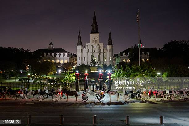 The St. Louis Cathedral is decorated for Christmas on December 3, 2014 in New Orleans, Louisiana.